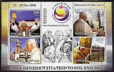 Somalia 2006 Pope Benedict's Trip to Poland perf sheetlet #2 containing 4 values unmounted mint