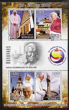 Somalia 2006 Pope Benedict's Trip to Poland perf sheetlet #3 containing 4 values unmounted mint
