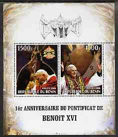 Benin 2006 First Anniversary of Pope Benedict XVI perf sheetlet containing 2 values, unmounted mint