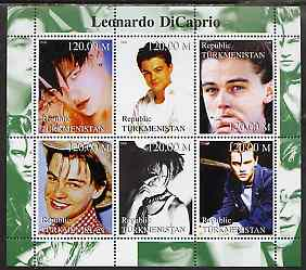 Turkmenistan 2000 Leonardo Di Caprio perf sheetlet containing 6 values unmounted mint