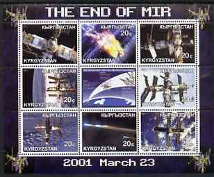 Kyrgyzstan 2001 End of Mir perf sheetlet containing set of 9 values unmounted mint