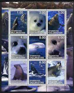 Tadjikistan 2001 Seals perf sheetlet containing set of 9 values unmounted mint