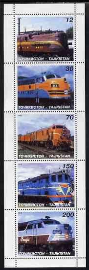 Tadjikistan 1998 Diesel Locomotives perf set of 5 values unmounted mint