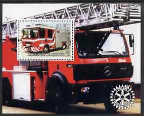 Djibouti 2004 Fire Engines #2 perf s/sheet with Rotary Logo, unmounted mint