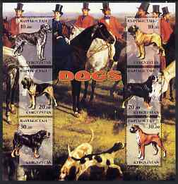 Kyrgyzstan 2001 Working Dogs special large perf sheet containing 6 values (Hunting scene in background) unmounted mint