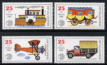 Bulgaria 1988 Bulgaria 89 Stamp Exhibition (Mail Transport) set of 4 unmounted mint, SG 3579-82 (Mi 3724-27)*
