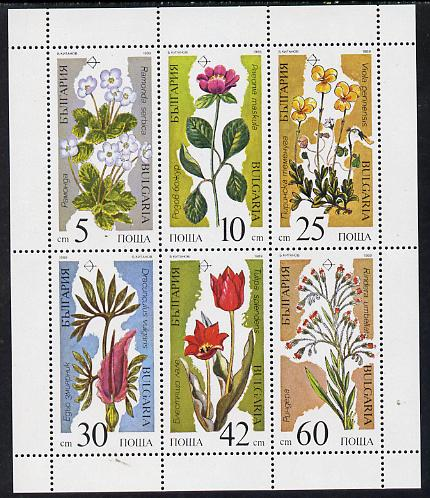 Bulgaria 1989 Flowers sheetlet containing set of 6, SG 3587-92 (Mi 3735-40) unmounted mint