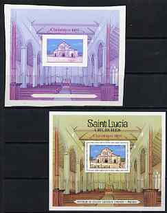 St Lucia 1986 Christmas imperf proof of m/sheet in magenta & blue only unmounted mint complete with issued m/sheet, as SG MS923