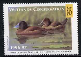 Cinderella - Australian Nature Conservation Agency 1996-97 Wetlands Conservation $15 stamp showing Blue-Billed Duck (value tablet in yellow) unmounted mint