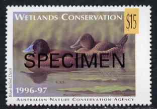 Cinderella - Australian Nature Conservation Agency 1996-97 Wetlands Conservation $15 stamp showing Blue-Billed Duck (value tablet in yellow) opt'd SPECIMEN unmounted mint*