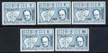 Calf of Man 1968 Europa 1968 opt'd on Churchill perf set of 5 in turquoise each additionally overprinted SPECIMEN (as Rosen CA105s-09s) unmounted mint