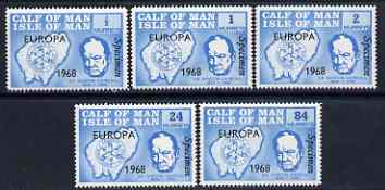 Calf of Man 1968 Europa 1968 opt'd on Churchill perf set of 5 in light blue each additionally overprinted SPECIMEN (as Rosen CA111s-15s) unmounted mint