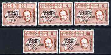 Calf of Man 1968 Olympic Games Mexico overprinted on Churchill perf set of 5 in brown each additionally overprinted SPECIMEN (as Rosen CA123s-27s) unmounted mint