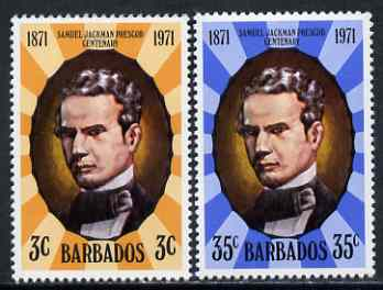 Barbados 1971 Death Centenary of Samuel Jackman Prescod (politician) perf set of 2 unmounted mint, SG 434-5