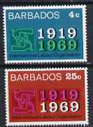 Barbados 1969 50th Anniversary of International Labour Organisation perf set of 2 unmounted mint, SG 390-91