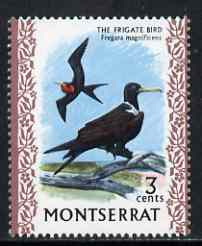 Montserrat 1970-74 Frigate Bird 3c on chalky paper unmounted mint, SG 244, stamps on birds, stamps on
