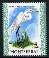 Montserrat 1970-74 Great Egret 4c on chalky paper unmounted mint, SG 245
