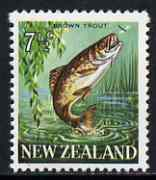 New Zealand 1967-70 Brown Trout 7.5c wmk sideways (from def set) unmounted mint, SG 871*