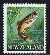 New Zealand 1967-70 Brown Trout 7.5c wmk upright (from def set) unmounted mint, SG 871a*