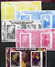 Benin 2002 Parrots imperf m/sheet containing 2 values each with Scout Logo, the set of 5 progressive proofs comprising the 4 individual colours plus all 4-colour composit...