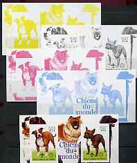 Benin 2002 World of Dogs imperf m/sheet containing 2 values each with Scout Logo, the set of 5 progressive proofs comprising the 4 individual colours plus all 4-colour composite (as issued) all unmounted mint