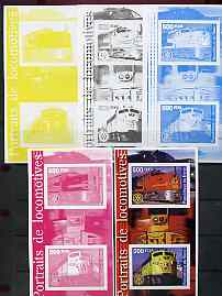 Benin 2002 Portraits of Locomotives imperf m/sheet containing 2 values each with Rotary Logo, the set of 5 progressive proofs comprising the 4 individual colours plus all 4-colour composite (as issued) all unmounted mint