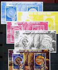 Benin 2002 World of Dinosaurs (& Minerals) imperf m/sheet containing 2 values each with Scout Logo, the set of 5 progressive proofs comprising the 4 individual colours pl...