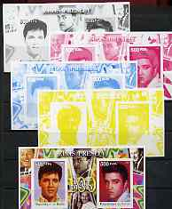 Benin 2002 Birth Centenary of Walt Disney featuring Elvis Presley m/sheet containing 2 values, the set of 5 progressive proofs comprising the 4 individual colours plus al...