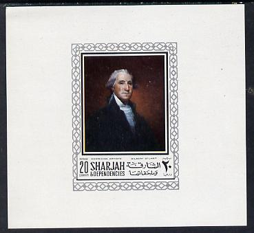Sharjah 1968 American Artists imperf sheetlet containing 20 Dh value (Gilbert Stuart) unmounted mint as Mi 448