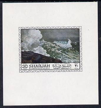 Sharjah 1968 American Artists imperf sheetlet containing 30 Dh value (Winslow Homer) unmounted mint as Mi 449