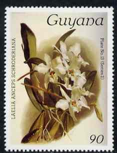 Guyana 1985-89 Orchids Series 2 plate 13 (Sanders' Reichenbachia) 90c unmounted mint, SG 1877