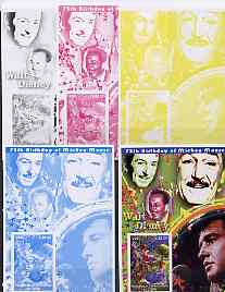 Congo 2001 75th Birthday of Mickey Mouse s/sheet #05 showing Alice in Wonderland with Elvis & Walt Disney in background, the set of 5 imperf progressive proofs comprising the 4 individual colours plus all 4-colour composite (as issued) all unmounted mint