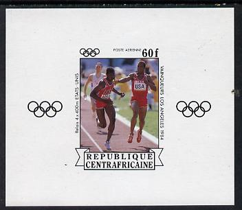Central African Republic 1985 Olympic Gold Medalists imperf sheetlet containing 60f (Relay) as SG 1068 unmounted mint