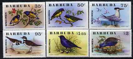 Barbuda 1976 Birds set of 6 overprinted SPECIMEN, SG 262-7s unmounted mint