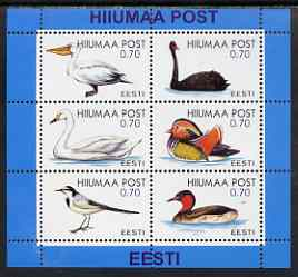 Estonia (Hiiumaa) 2000 Birds perf sheetlet containing 6 values unmounted mint, stamps on birds