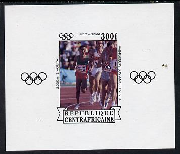 Central African Republic 1985 Olympic Gold Medalists imperf sheetlet containing 300f (5000 metres) as SG 1068 unmounted mint