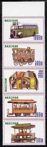Naxcivan Republic 1999 Buses perf strip of 5 values complete unmounted mint