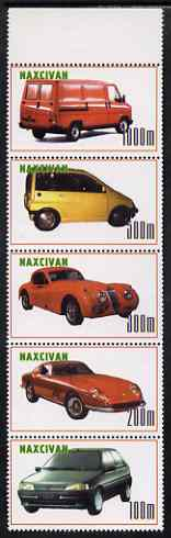 Naxcivan Republic 1999 Modern Cars & Vans perf strip of 5 values complete unmounted mint