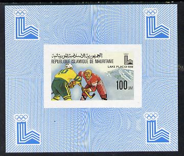 Mauritania 1980 Winter Olympics (Ice Hockey) imperf sheetlet containing 100f value as SG 640 unmounted mint