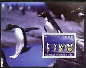 Congo 2002 Penguins #2 perf m/sheet with Rotary Logo unmounted mint