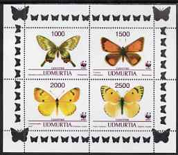 Udmurtia Republic 1997 WWF - Butterflies perf sheetlet containing complete set of 4 unmounted mint