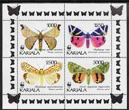 Karjala Republic 1997 WWF - Butterflies perf sheetlet containing complete set of 4 unmounted mint