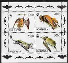 Ingushetia Republic 1997 WWF - Bats perf sheetlet containing complete set of 4 unmounted mint
