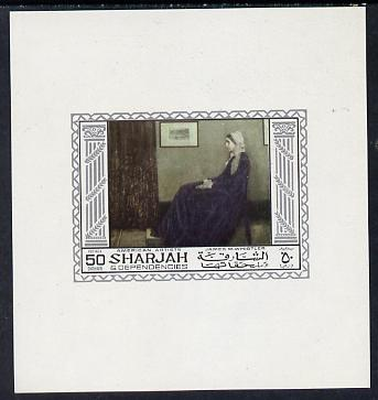 Sharjah 1968 American Artists imperf sheetlet containing 50 Dh value (James Whistler) unmounted mint as Mi 451