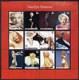 Chakasia 2003 Marilyn Monroe perf sheetlet containing 12 values unmounted mint