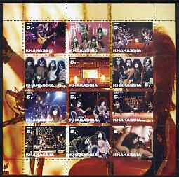 Chakasia 2003 Kiss (Pop Group) perf sheetlet containing 12 values unmounted mint, stamps on music, stamps on pops, stamps on rock