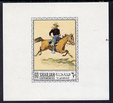 Sharjah 1968 American Artists imperf sheetlet containing 60 Dh value (Frederick Remington) unmounted mint as Mi 452