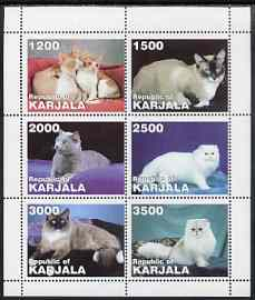 Karjala Republic 1997 Domestic Cats perf sheetlet containing 6 values unmounted mint , stamps on cats