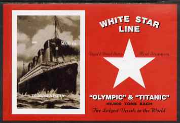 Turkmenistan 2000 Titanic rouletted souvenir sheet #1 (white Star Line) unmounted mint