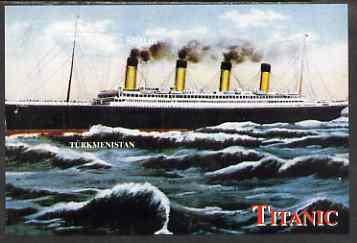 Turkmenistan 2000 Titanic rouletted souvenir sheet #2 (Side elevation) unmounted mint